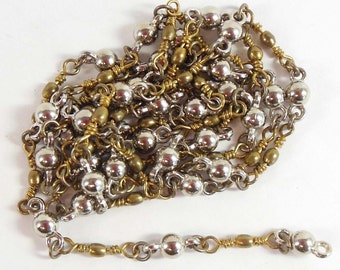 Vintage Chain, Bead and Link Chain, Vintage Jewellery Supplies, Handmade Chain, Antique Brass, Jewelry Chain, Bsue Boutiques,  Item08225