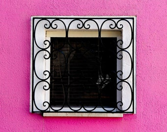 Hot Pink Photograph, Fuchsia Photograph, Picture of Window, Pink Decor, Pink Wall Art, Burano Photo, Italy Print, Pink Burano House Decor