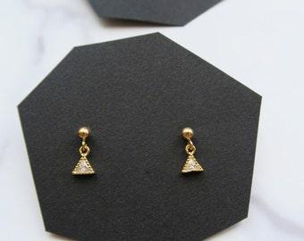 Tiny triangle trillion earrings
