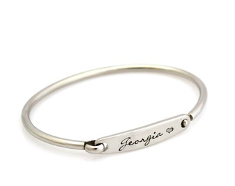 Custom Personalised Hand Stamped ID Bangle - Stainless Steel Silver