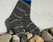 Blue-Sand Striped Handknit Socks
