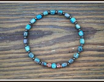 Men's Jasper Bracelet, Imperial Jasper Bracelet, Jasper  Stretch Bracelet, Imperial Jasper Nugget Bracelet, Men's Small Nugget Bracelet