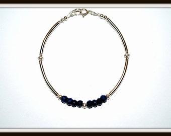 Genuine Sapphire Bracelet, Sapphire and Hill Tribe Silver Bracelet, Sapphire and Fine Silver Bracelet, September Birthstone Bracelet