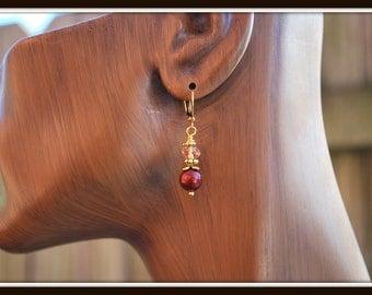 Bordeaux Pearl Earrings, Swarovski Pearl Earrings, Burgundy Pearl Earrings, Pearl and Crystal Earrings, Women's Bordeaux Pearl Earrings