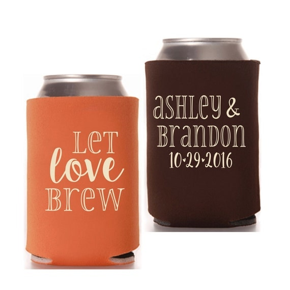 Kool A Brew Can Coolers ~ Wedding can coolers let love brew personalized