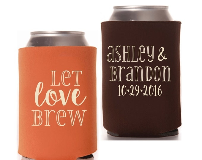 Wedding Can Coolers | Let Love Brew | Personalized Wedding Favors | Halloween Wedding | Fall Wedding Favors