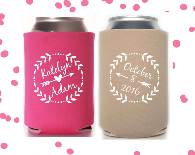 Wedding Can Coolers | Personalized Bride & Groom Wedding Favor | Custom Design Party Supplies | FREE Standard Shipping
