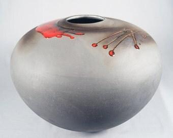 Monumental Tony Evans Modernist Raku Studio Ceramics Vase