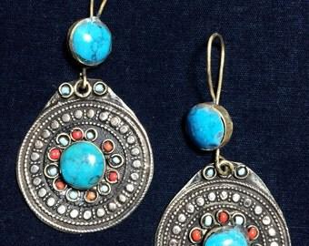 Vintage Afghani Style Large Round Earrings Gypsy Tribal Boho Turquoise Color Uber Kuchi®
