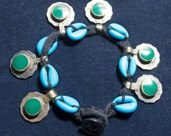 Vintage Kuchi Anklet Coins Cowries Electric Blue Green Hippie Boho Gypsy Tribal Uber Kuchi®