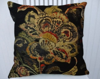 Black Yellow Chenille Pillow Cover- Decorative Pillow, Floral Throw Pillow 18x18 or 20x20 or 22x22 Accent Pillow