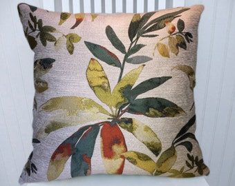 Green, Red, Yellow Pillow Cover, Floral Decorative Throw  Pillow Cover, Accent Pillow Covers