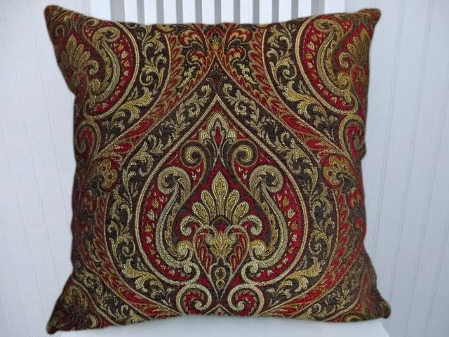 red gold brown paisley ikat decorative throw pillow 18x18 or. Black Bedroom Furniture Sets. Home Design Ideas