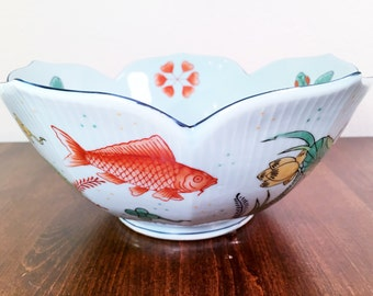 Large Hand Painted Lotus Bowl with Koi Pond Scene