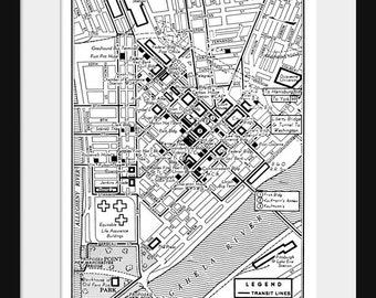Pittsburgh - Vintage Map of Downtown Pittsburgh Print Poster