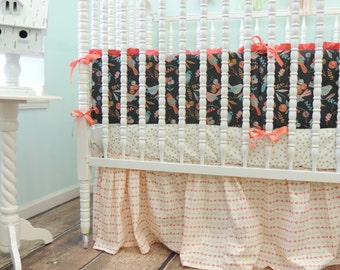 Gray Aqua Coral Gold Crib Bedding Watercolor Arrow, Metallic Gold Dots, Arrow Skirt, and Whimsy Bird Bumper, Coral Gray Aqua Bedding