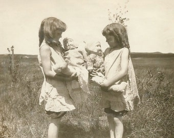 Vintage Photo - Twin Girls - Sisters - Vintage Dolls - Vintage Snapshot - Found Photo - Paper Ephemera