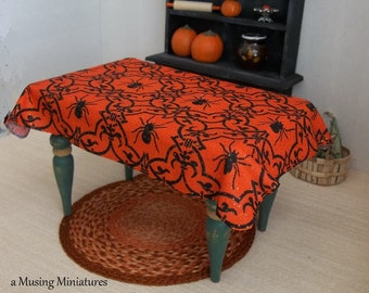 Dollhouse Table Cloth Orange and Black Widow for 1:12 Scale Miniature Halloween