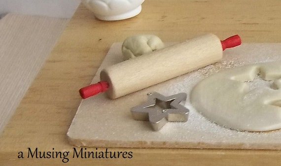 Classic Red Rolling Pin in 1:12 Scale for Dollhouse Miniature Kitchen or Pie Pastry Prep Table