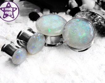 "Fauxpal Faux Opal Plug / Gauge White Iridescent Wedding / Prom 0g, 00g, 7/16"" / 8mm, 10mm, 11mm"
