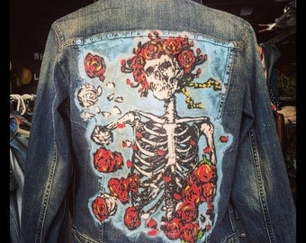 Skull and Roses Custom Mens or Ladies Denim Jacket - All Sizes!