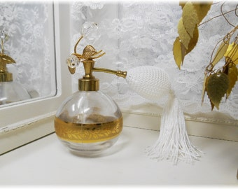 Vintage Gilded Floral Top Atomizer Perfume Bottle