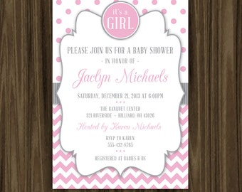 Chevron and Polka Dot Baby Shower Invitation - Print Your Own - Digital File with Color Options