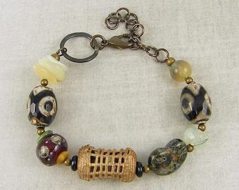 Tribal Bead Bracelet Earthy Bracelet, Agate Bracelet, Chunky Bead Bracelet, Ethnic Gemstone Glass Beaded Brass Rustic Bracelet