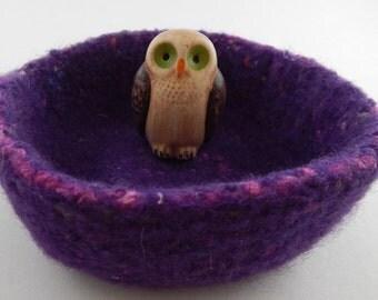 felted wool bowl storage container desktop organizer purple mix