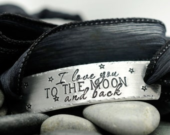 Personalized Bracelet - I Love You To The Moon and Back - Custom Jewelry -  Silk Wrap Bracelet - Hand Stamped Jewelry- Hand Dyed Silk Ribbon