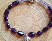 Silver lotus and amethyst bracelet yoga jewelry purple amethyst and sterling silver lotus charm