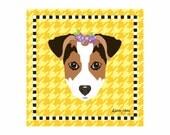 Jack Russell Terrier Pet Portrait Art Print Illustration Wrapped Canvas 12x12x.75
