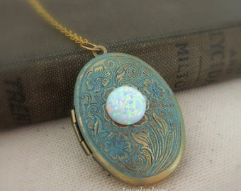 Opal Locket Necklace White Opal Necklace Photo Locket Fire Opal Locket Vintage Style Shabby Chic Victorian Aqua Teal Blue Locket Gift