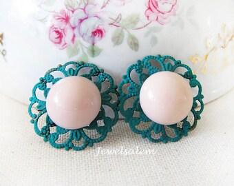 Teal Earrings Coral Pink Earrings Studs Bridal Earrings Elegant Chic Wedding Jewelry Bridesmaid Gift Cerulean Cyan Kelly Green Pine Peach