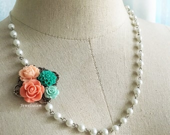 Coral Bridal Necklace Teal Wedding Jewellery Pearl Necklace Mother of Bride Gift Aqua Peach Bridesmaids Jewelry Elegant Necklace for Bride