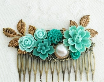 Seafoam Wedding Hair Comb, Aqua Bridal Hair Slide, Gold Leaves, Teal Green Hair Pin, Cyan Hair Adornment, Elegant, Custom Bridesmaid Gift