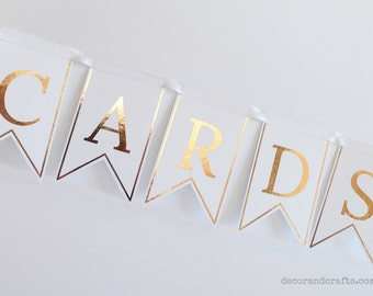 Wedding Cards banner, Reception bunting, Wedding Sign Cards, Bridal or Baby Shower Cards garland, Gold foil wedding decor, Card box banner