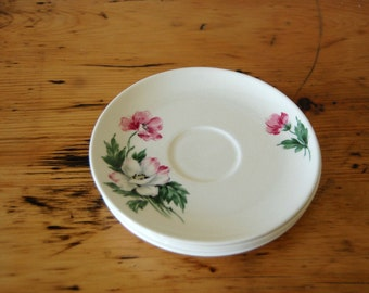Vintage Made In USA Ballerina Pottery Saucers Vintage Floral Saucers Vintage Cottage Chic Pink Rose Plates from The Eclectic Interior
