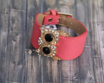 Pink Leather Look Owl Bracelet Sparkly Sparkle Gold Charm