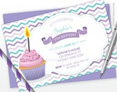 Cupcake Party Invitation - Baking Birthday Party - Horizontal Layout - Purple Turquoise Chevron - PRINTABLE JPEG or PDF file