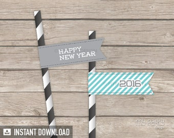 New Year's Eve Turquoise & Grey Party - Straw flags - INSTANT DOWNLOAD - Printable PDF