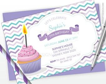 Cupcake Party Invitation - Baking Birthday Party - Horizontal Layout - Purple Turquoise Chevron - PRINTABLE JPEG or PDF file