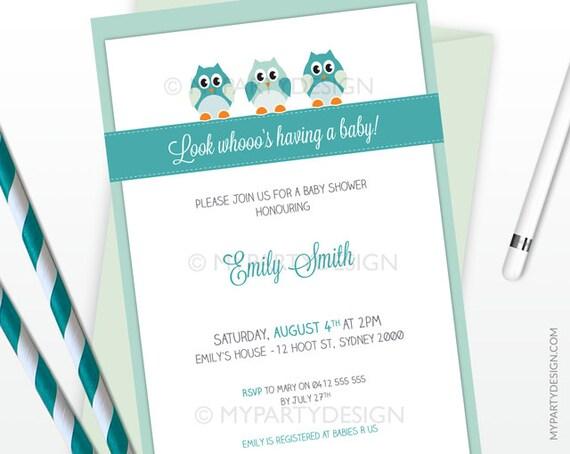 Owl Boy Baby Shower Invitation - Owl Party Invitation - Mint Teal - PRINTABLE JPEG or PDF file
