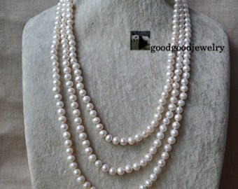 Pearl Necklace, 3 rows 20.5-24.75 inch 7-8mm Freshwater Pearl Necklace,statement necklace, triple strand pearl necklace,ivory pearl necklace
