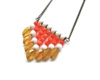 Tangerine Bronze Chevron Necklace - Orange Citrus Long Necklace - LAST ONE
