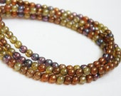 Amethyst Champagne Amber Copper Bronze Opal Picasso finish Czech Druk glass round fall colors mix beads 4mm ND4-46