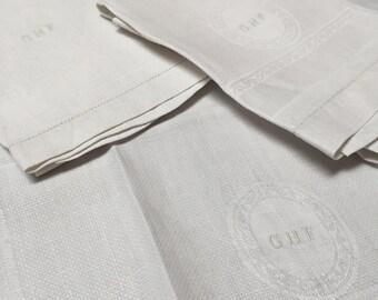 Vintage Trio Linen Damask Guest Towels, Monogram
