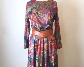Vintage Colorful Floral Knee Length Dress