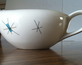 Vintage Starburst North Star Gravy Boat Mid Century Salem Serving China Atomic 1950s 60s