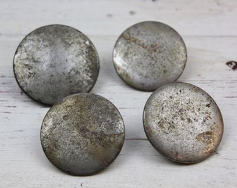 Four Vintage Horse Bridle Silver Rosettes Button Lorinery Headstall Rosette Metal Equestrian Decor Salvage Assemblage Tack Gear #70